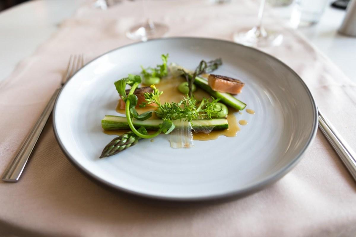 Smoked turbot and asparagus from Olo