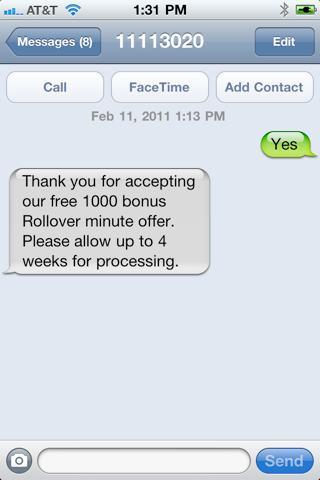 AT&T 1,000 Free Bonus Rollover Minutes