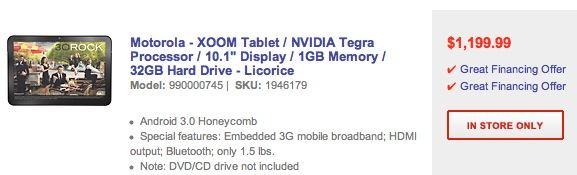 Motorola Xoom $1,199.99
