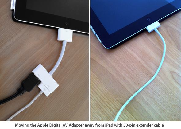iPad 2 with Apple Digital AV Adapter and 30-pin Extender Cable