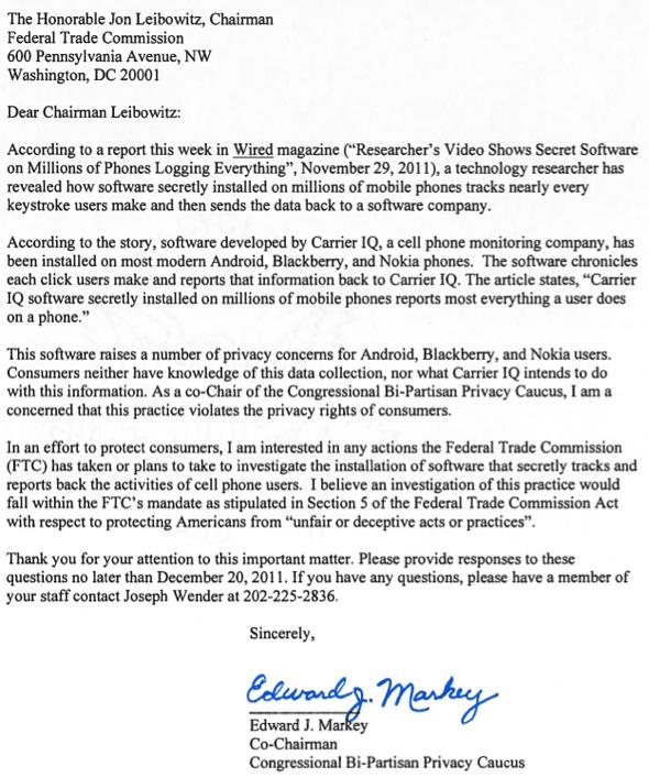 Congressman Edward J. Markey Carrier IQ letter