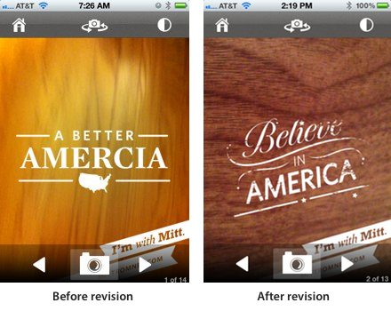 "Romney ""Amercia"" app before and after"