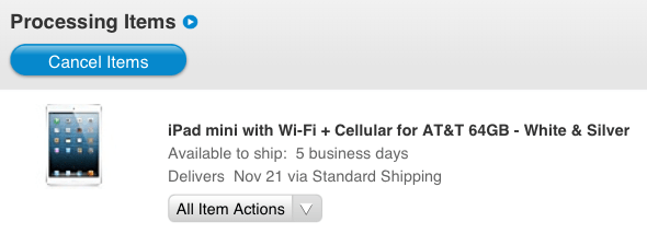 iPad mini Wi-Fi + Cellular shipment date