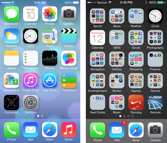 Apple's basic iOS 7 example on the left vs. a MacDailyNews iPhone 5 running iOS 7 on the right.