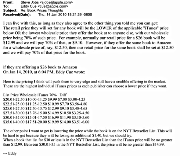 """Steve Jobs' email to Eddy Cue: """"Book Prices Thoughts"""""""