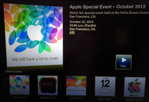 Apple's special event page on Apple TV