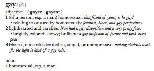 """Apple's current system-wide Dictionary definition of the word """"gay"""""""