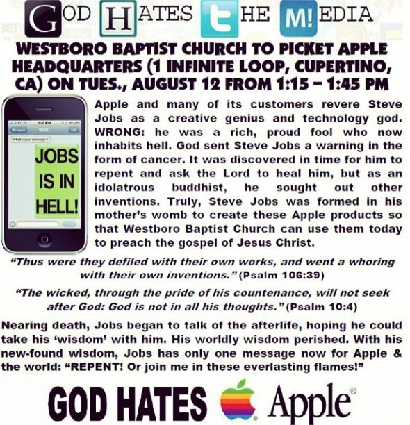 Westboro Baptist Church announcement protest to be held at Apple HQ