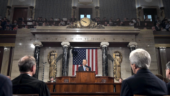 Apple Macs at the 2015 State of the Union (photo: Reuters)