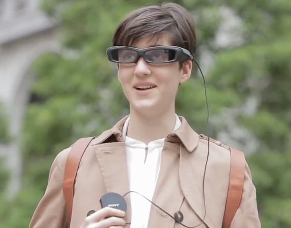 "Sony's painfully dorktastic 'Smartglasses"" in action"