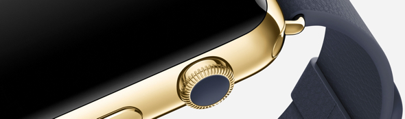 Apple Watch Edition in 42mm 18-karat yellow gold with midnight blue classic buckle