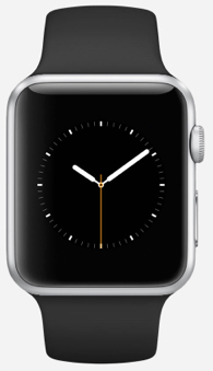42mm Apple Watch Sport in Silver with the 42mm Black Sport Band with Space Gray Stainless Steel Pin - 70g total