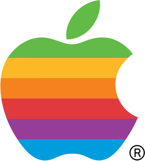Apple's original six-color rainbow logo