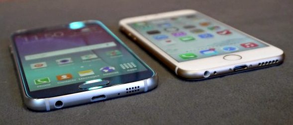 Samsung Galaxy S6 (left), Apple iPhone 6 (right) (image credit: TechRadar)