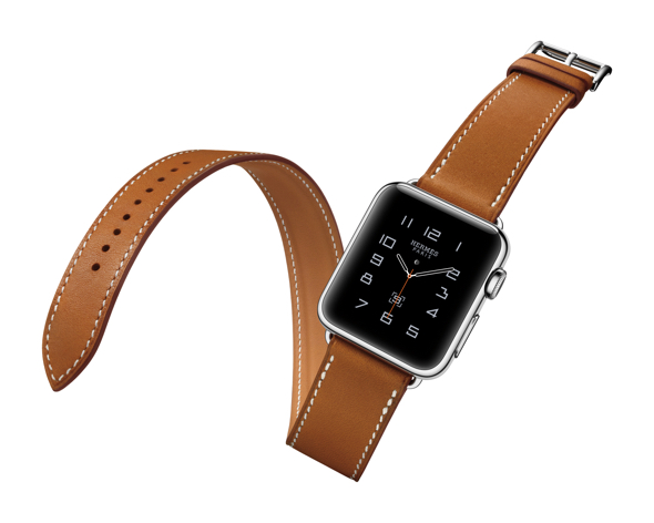 Apple Watch Hermès. The extra-long band of the iconic Double Tour wraps elegantly twice around the wrist. Available in a 38mm stainless steel case with Hermès leather bands in four colors: Fauve, Etain, Capucine, and Bleu Jean. — $1250