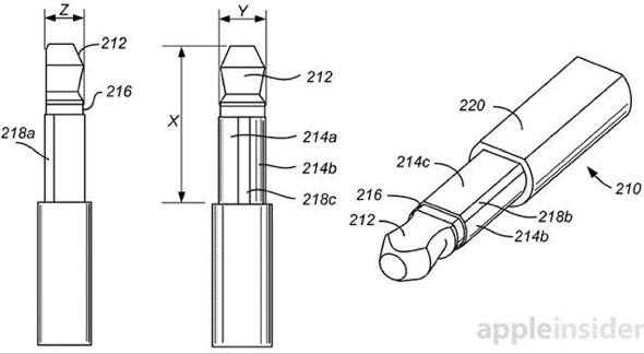 Apple slim headphone plug patent