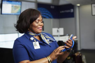 """United will give more than 6,000 customer service representatives an iPhone 6 Plus. Agents will have the ability to solve more customer issues """"on-the-go,"""" anywhere in the airport."""