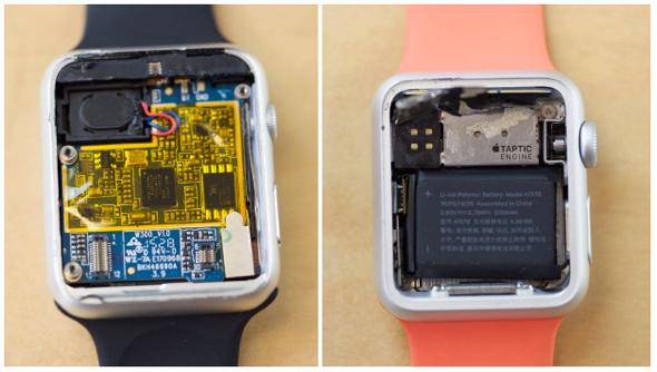 Fake Apple Watch (left) vs. genuine Apple Watch Sport