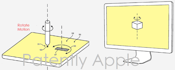 Apple patent application illustration depicting Apple Pencil working with Mac trackpad