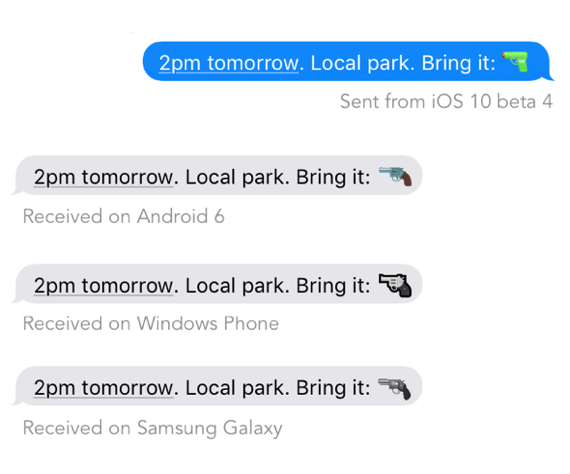 Microsoft just replaced its toy gun emoji with a real handgun