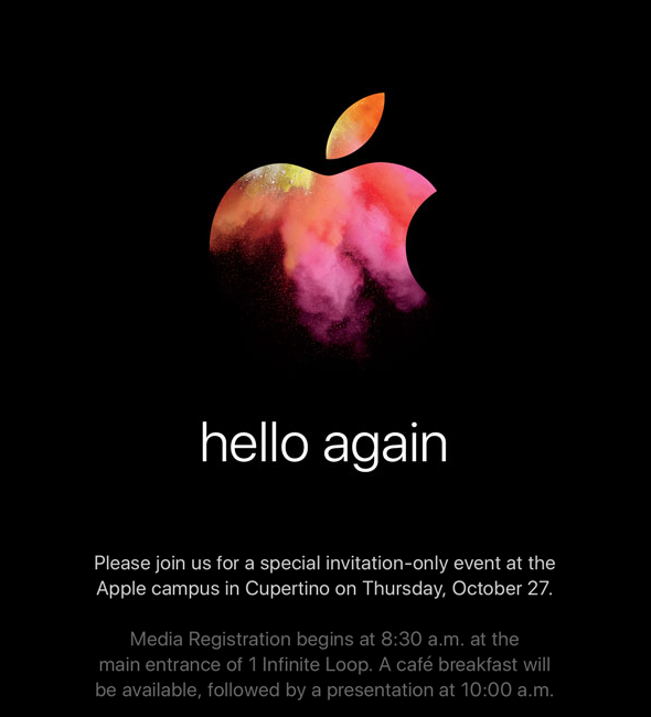 """Apple's invitation for their """"hello again"""" special event"""
