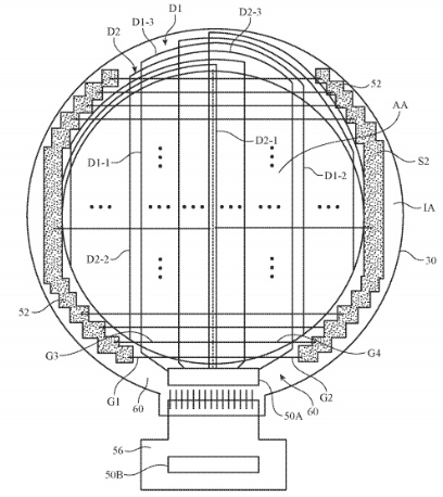 Illustration from Apple patent application of a wearable with a round face