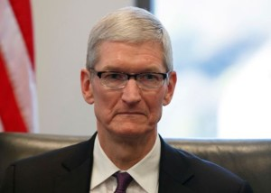 Apple CEO Tim Cook at U.S. President-elect Donald Trump's tech roundtable in December