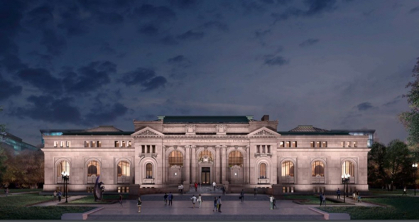 A rendering of Apple's vision for a restored Carnegie Library in Mount Vernon Square. Under Apple's plan, the 114-year-old building would host concerts, performances and education open to the public. (Image: Apple Inc.)