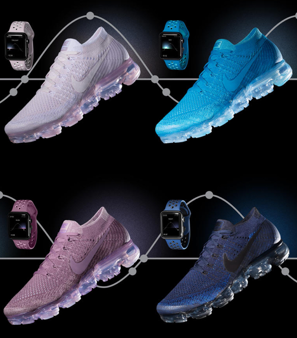 "Four new Nike Sport Bands for Apple Watch Nike+ in colorways inspired by the Nike Air VaporMax Flyknit ""Day to Night"" collection"