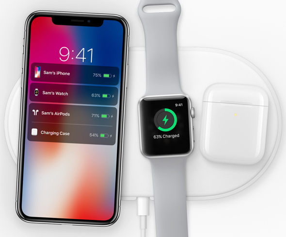 The new Apple-designed AirPower mat, coming in 2018, can charge iPhone, Apple Watch and AirPods simultaneously.