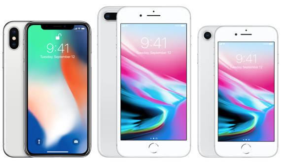 """iPhone X (5.8"""" display, left), iPhone 8 Plus (5.5"""" display, center), iPhone 8 (4.7"""" display, right)"""