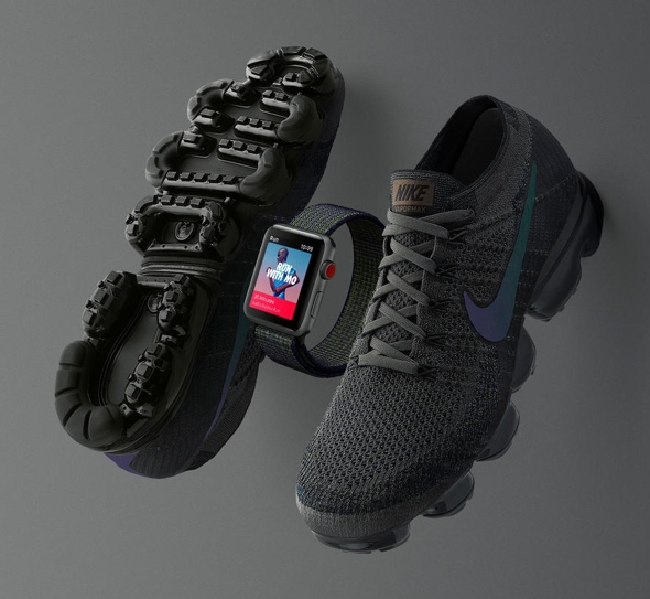 The Midnight Fog edition of Apple Watch Nike+ Series 3 (GPS + Cellular) ($399) and Nike Air Vapormax (TBA, around $200)