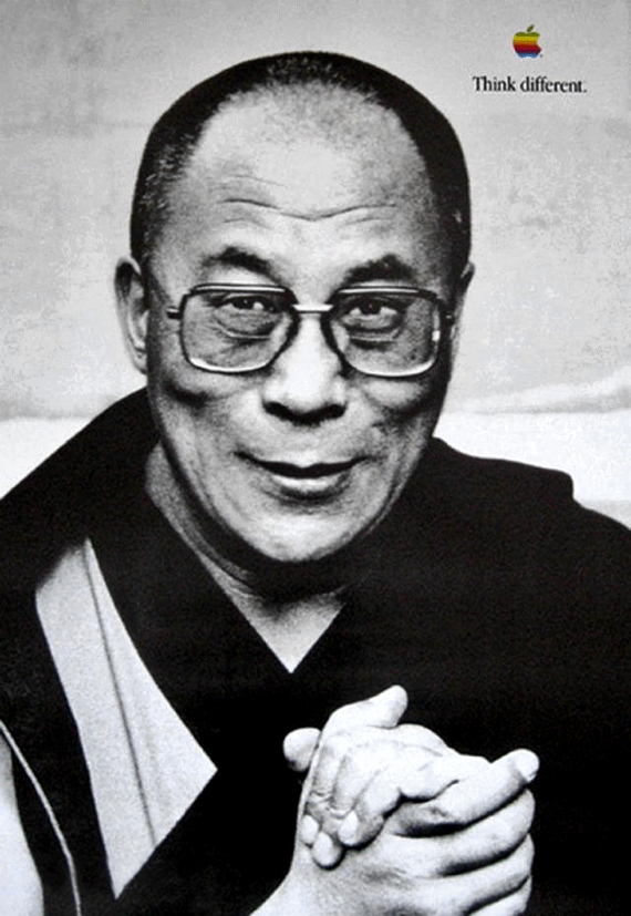 Apple's Think Different promotional posters featured the 14th Dalai Lama (set 2, 1998)