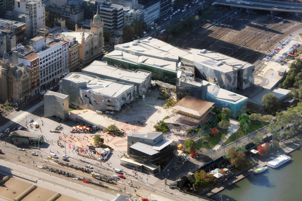 Apple will increase the public space within Federation Square and improve access to the Yarra River.
