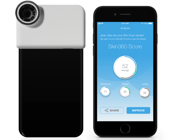 Neutrogena's iPhone-only SkinScanner camera attachement and Skin360 app