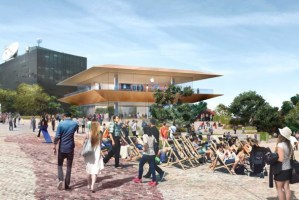 An artist's impression of a previously planned new Apple concept store at Melbourne's Federation Square. (Photo via Victorian Government)