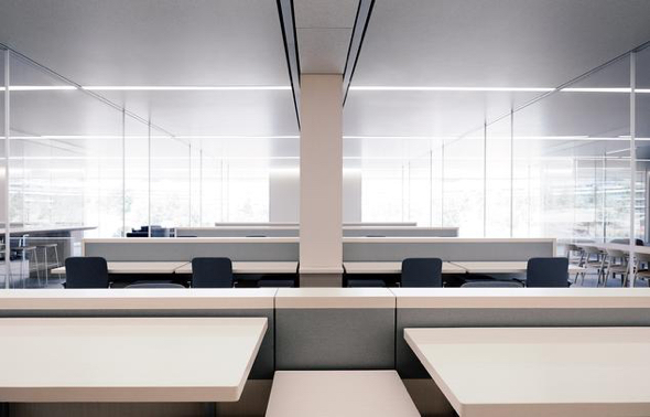 Desks in Apple Park's open-plan workspaces can be raised to standing level at the push of a button. (Photo: Mikael Jansson for WSJ Magazine)