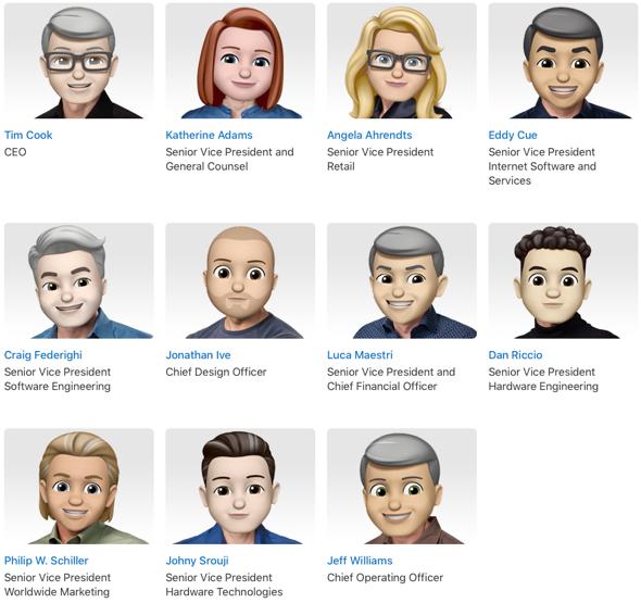 Apple's leadership page gets Memoji overhaul for World Emoji Day