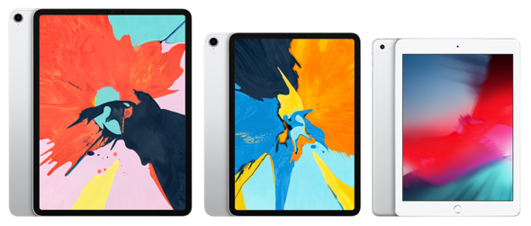 Apple's iPad Family 12.9-inch iPad Pro (left), 11-inch iPad Pro (center), and 9.7-inch iPad (right)