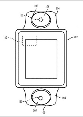 Apple Watch band with camera(s) shown in Apple's patent application illustration (source: USPTO)