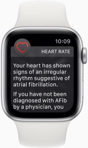 Apple Watch saves life - Apple Watch Series 1 or later with watchOS 5.1.2 sends a notification if an irregular heart rhythm such as AFib, is identified.
