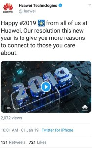 Huawei ban. Image: 2019 Screenshot of a tweet sent out by Huawei's social media team from a real Apple iPhone
