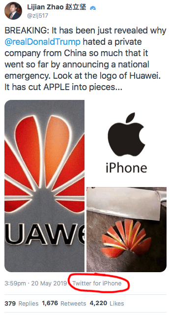 Lijian Zhao tweet from Apple iPhone