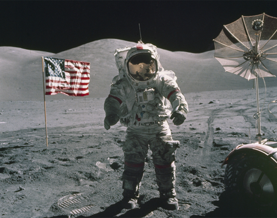 U.S. astronaut and Apollo 17 commander Eugene Cernan stands on the moon.