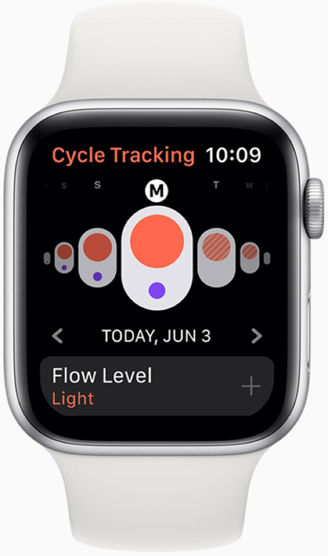 With the Cycle Tracking app, users can log information related to their menstrual cycles and see predicted timing for upcoming period and fertile windows.