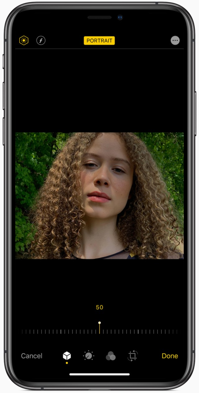 With iOS 13, Portrait Lighting adjustments can be made right in the Camera app.