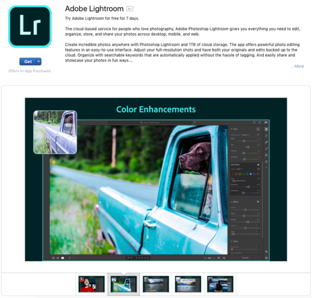Adobe Lightroom on Apple's Mac App Store