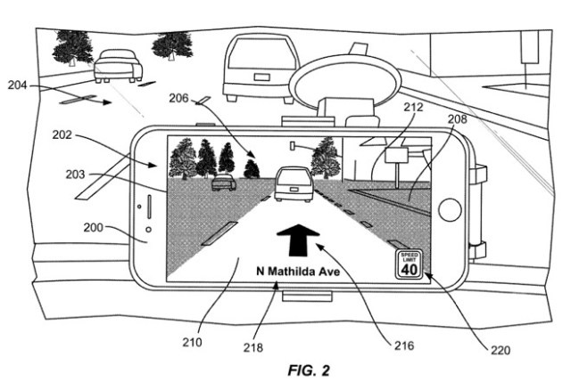 Apple's patent application illustration depicts an iPhone mounted to vehicle's dashboard with an AR interface providing turn-by-turn navigation