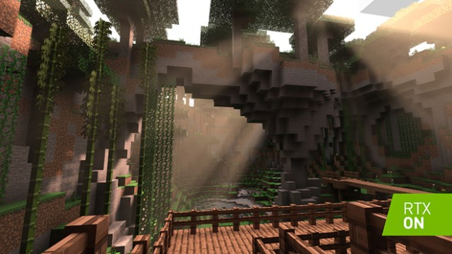 A screenshot of Minecraft with RTX on