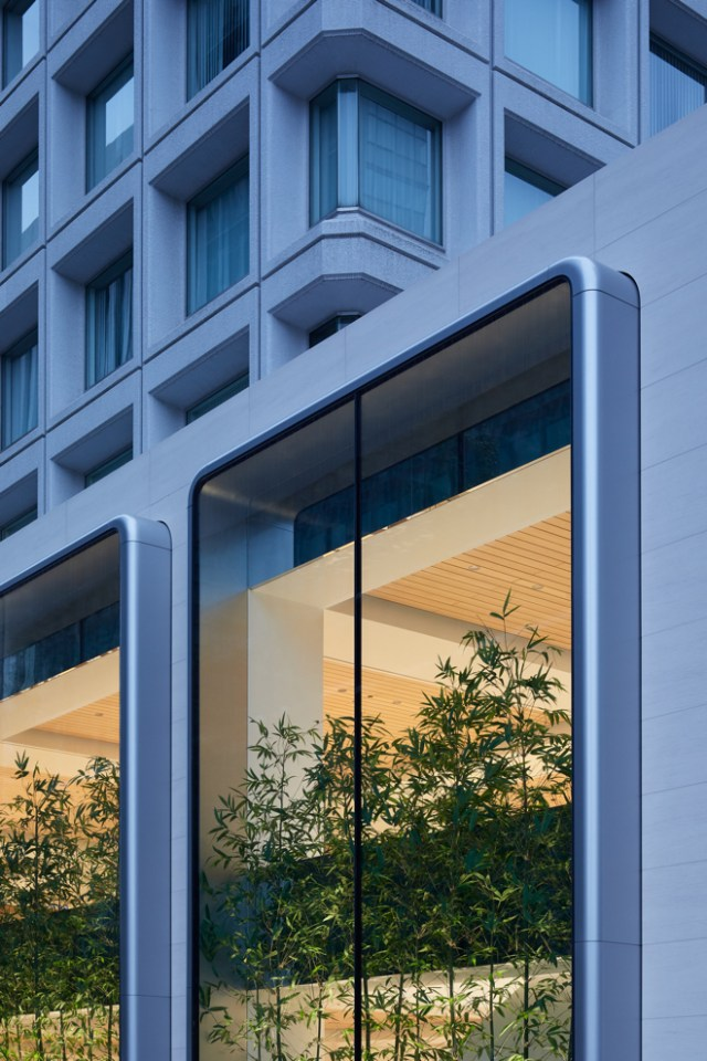 Apple's fifth store in Tokyo features a unique facade, with two-story vitrine windows.